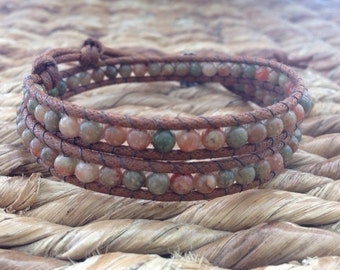 Autumn Jasper Gemstone and Thai Silver Double Wrap Bracelet