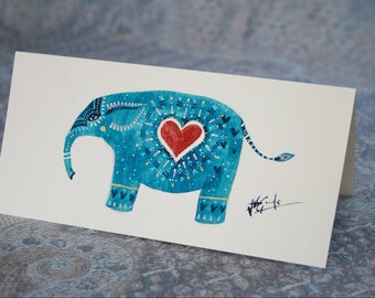 Turquoise Elephant with Heart Hemp Card (Hand Painted)
