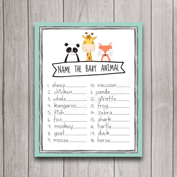Baby Shower Game Name The Baby Animal: Baby Shower Game Printable Name The Baby By INVITEDbyAudriana