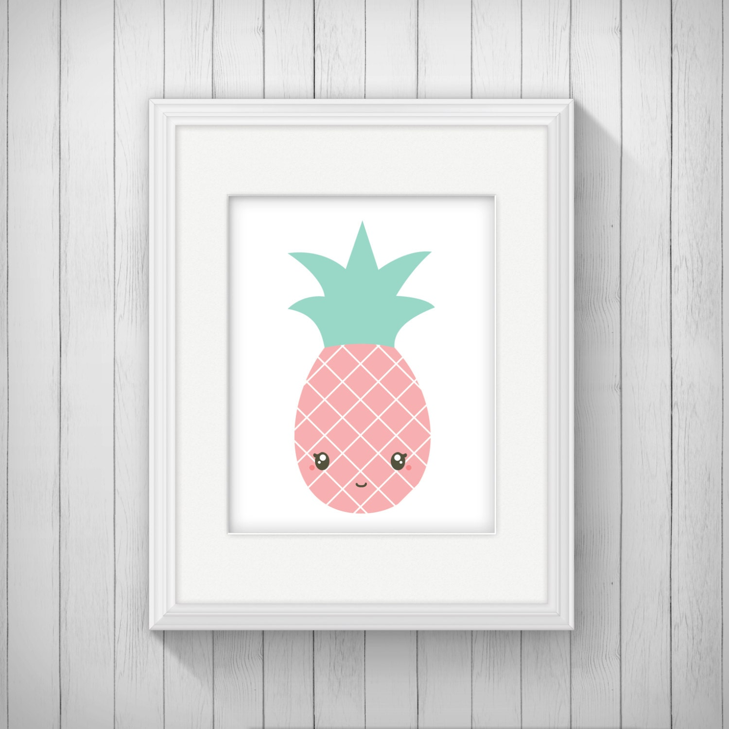 Pink pineapple nursery wall art printable cute kawaii fruit for Pink wall art