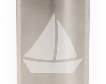 Cute Sailboat Etched Hip Flask 8oz