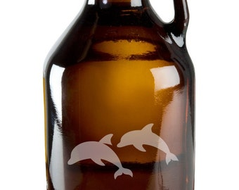 Awesome Swimming Dolphins 64oz Beer Wine Growler