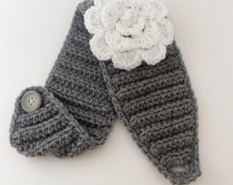Crochet Flower Headband, Gray Headband, Crochet Headband, Flower Headband, Women Headband, Winter Headband, Gray Color Headband,White Flower