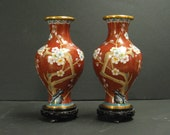 Pair of Vintage Chinese Ming Dynasty Style Cloisonne Vases