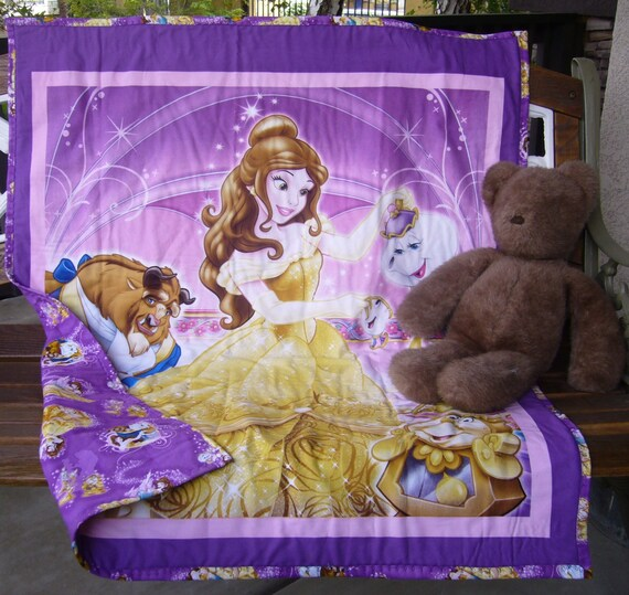 New Disney Beauty And The Beast Panel Quilt With Coordinating