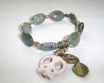 Gemstone Bracelet . Skull Bracelet . Jasper Bracelet . Tourmaline Bracelet . Howlite Skull Bracelet. Charm bracelet . Semi Precious Bracelet