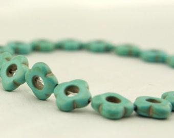 T-T038 24pcs,1strands,15*15mm,1.5mm sun-flower turquoise/calaite/kallaite beads,Natural stones wholesale,DIY Jewelry supplies wholesale