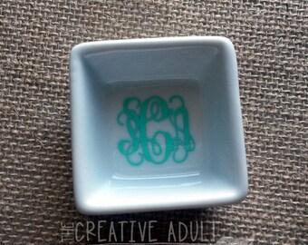 Mini Square White Ceramic Monogrammed Ring Dish - Perfect Gift
