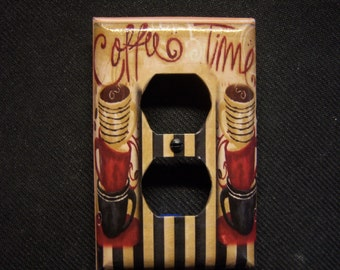 Light Switch Cover Coffee Time Cafe Double Outlet Print