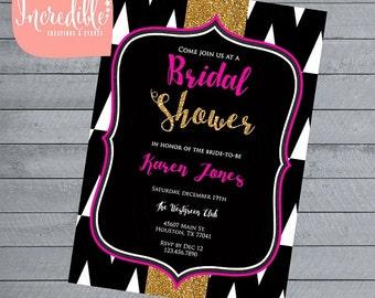 Pink, Black & Gold Glitter Bridal Shower or Bachlorette Invitation - Digital file