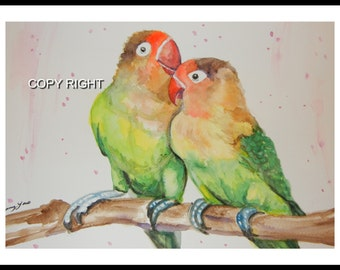 Original Water Color painting, 12x9 in, Green Parrot Bird, Yellow, green, blue, red, 15084
