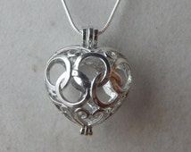 Silver Puffy Heart Aromatherapy / Perfume Difuser Necklace