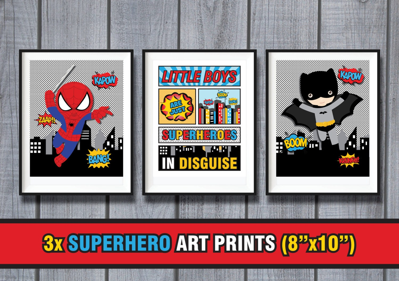 3x superhero nursery wall art prints printable by for Superhero wall art