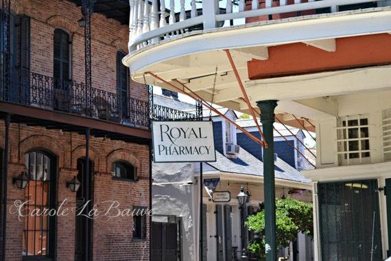 NEW ORLEANS PHOTOGRAPHY ~ Royal Pharmacy ~ Landmark ~ French Quarter Signage ~ Streetscape ~ Louisiana Fine Art Photography ~ Cajun Decor