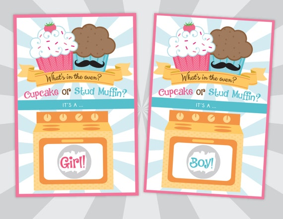 Gender Reveal Scratch Off Cards - Gender Reveal Party - What's In The Oven - Cupcake or Stud Muffin - Boy or Girl