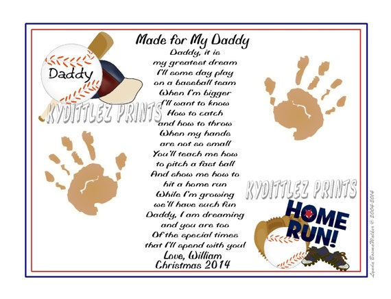 DADDY Teach Me BASEBALL Poem 8 x 10 Personalized Print