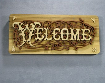 Welcome sign, hand cut scroll saw fretwork,  natural wood colors, scrollsaw welcome sign.