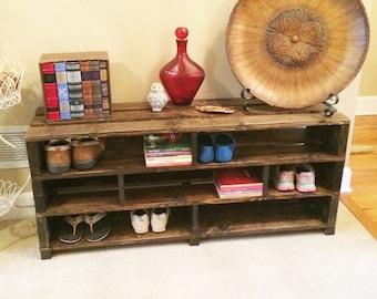 Handmade Shoe Storage Bench Shelving // Shoe Rack // Wood Storage // Entryway Foyer Mudroom