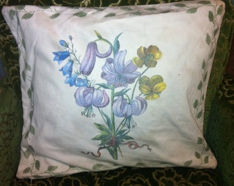 A lovely seventies  cushion cover with spring flower design.