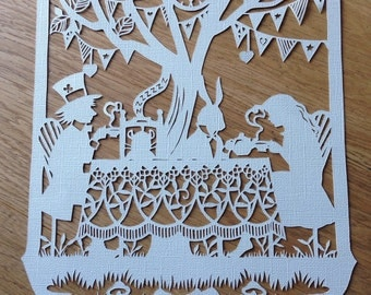 Mad hatters tea party - unframed paper cut - Alice in Wonderland