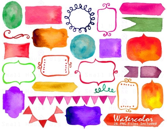 Frame clipart, clipart,PNG Digital Frames, Watercolor banner, Watercolor Ribbons, Watercolor border Clipart - 26 PNG Files Included