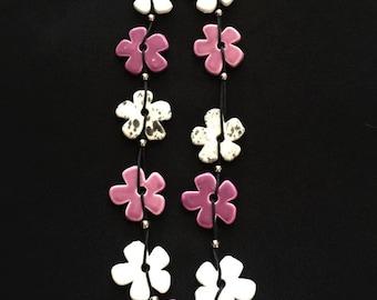 SALE!!! Black/White/Purple Flower Porcelain Necklace