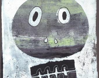 "grey green white skull monoprint original print original art ""skull 5"""