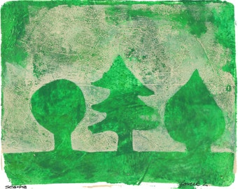 "SALE green art trees art nursery art peach trees monoprint original print original art ""forest 2"""