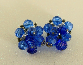 Statement Blue Beads Earrings Vintage Jewelry Vintage Earrings Costume Jewelry