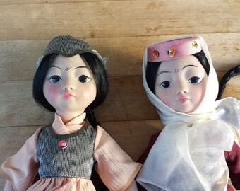 Splendid couple of Soviet folk dolls. Former USSR. Very good condition. Gorgeous costumes. Foot plastic.