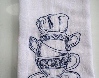 Fancy Stacked Tea Cups Embroidered on Flour Sack Towels