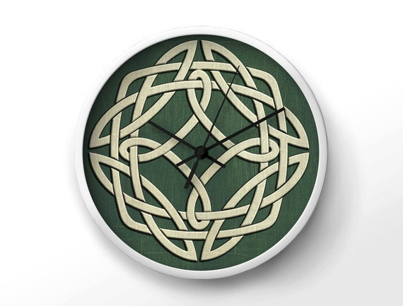 Green celtic wall art clock viking home decor by uniquearthome for Celtic decorations home