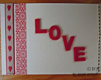 Valentine's Card - Cream & red love