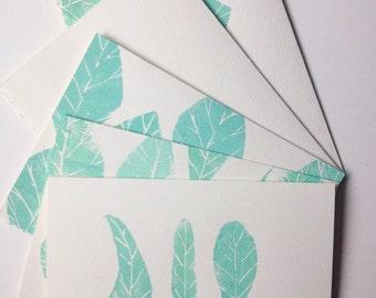 Stamped Blue Leaf Greeting Card Set [blank inside, set of 5 styles, envelopes included]