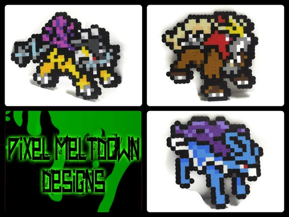 Raikou  Entai  Suicune b  234 tes l  233 gendaire Pokemon Pixel ArtRaikou Pixel Art
