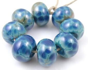 Denim Blues SRA Lampwork Handmade Artisan Glass Donut/Round Beads Made to Order Set of 8 8x12mm