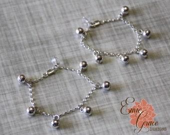 Bells Anklet Set, Sterling Silver, Baby Ankle Bracelets, Infant Jewelry