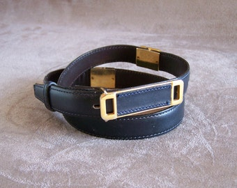 """Belt sewn navy blue box with gold metal parts 29.5"""""""