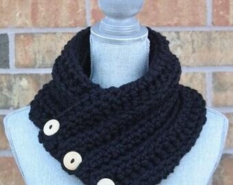 The 'Wanda' Cowl, Chunky Crochet Winter cowl, Black