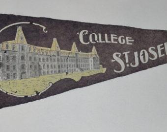 Genuine Vintage Original Felt Pennant for St. Joseph's College, New Brunswick
