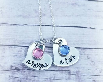 Personalized Mother's Necklace - Child's Name - Swarovski Crystal Birthstones - Hand Stamped - Sterling Silver Chain