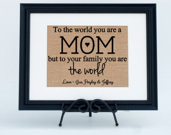 Personalized Framed Burlap Print Wall Sign Home Decor Fabric Art For Mom (#1386FB)