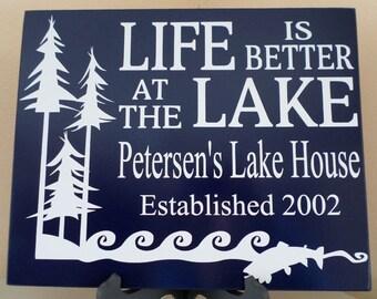 lake house decor-signs-personalized lake house signs-lake house wall art-custom lake house-Life Is Better At The Lake-personalized lake gift