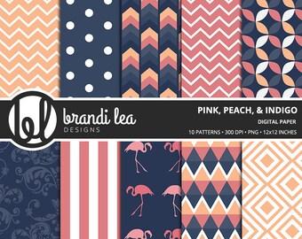 Pink, Peach, Indigo Digital Paper - Digital Download - 300 DPI - 12x12 Inches - PNG