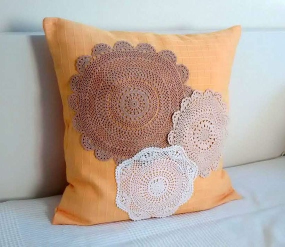 Lace pillow cover fabric throw pillow vintage crochet lace