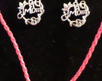 Handbeaded Mom Necklace and Earring Set