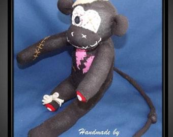 Handmade sock zombie monkey: Meryl ~The original 100% hand stitched plush animal made by Chiki Monkeys!