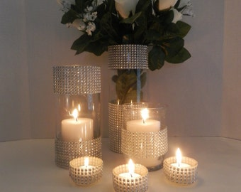 Wedding centerpiece, Candle holder table set,  Rhinestone wedding candle holder or flower vases centerpiece wedding decoration