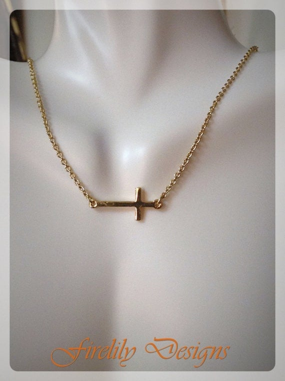 Cross necklace gold cross sideways necklace asymetrical necklace