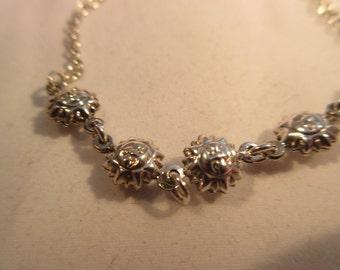 Vintage Sterling Silver Sunshine Bracelet